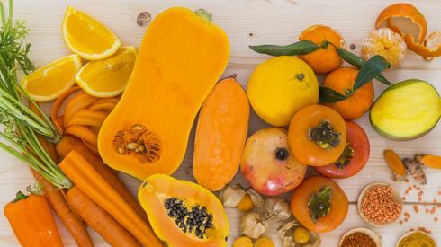 יס לתפריט מזונות כתומים: בטטה, דלעת וגזר