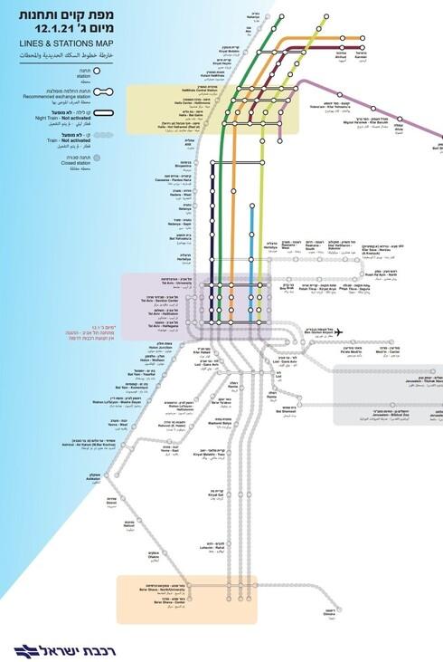 מפת הקווים והרכבות מיום 12.1.20