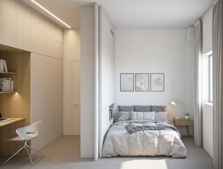 חדר שינה משולב עם חדר עבודה בפרויקט מיקרו אבן גבירול