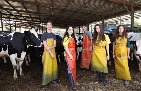 בני הנוער מהכפר הירוק מגיעים לשיעור הראשון אחרי משמרת של חליבה