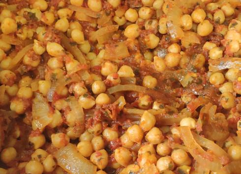חומוס, בצל ועגבניות