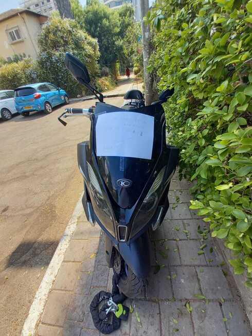 הפתק שהושאר על האופנוע