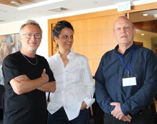 פרופ' יובל מלמד מנהל המרכז הרפואי, נטע הררי, ודב נבון. צילום: אלי אברמוב